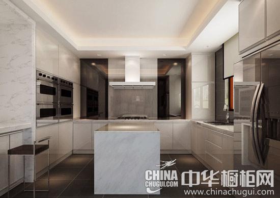 【新中式客厅装修效果图】 白色整体橱柜图片 【新中式厨房装修效果